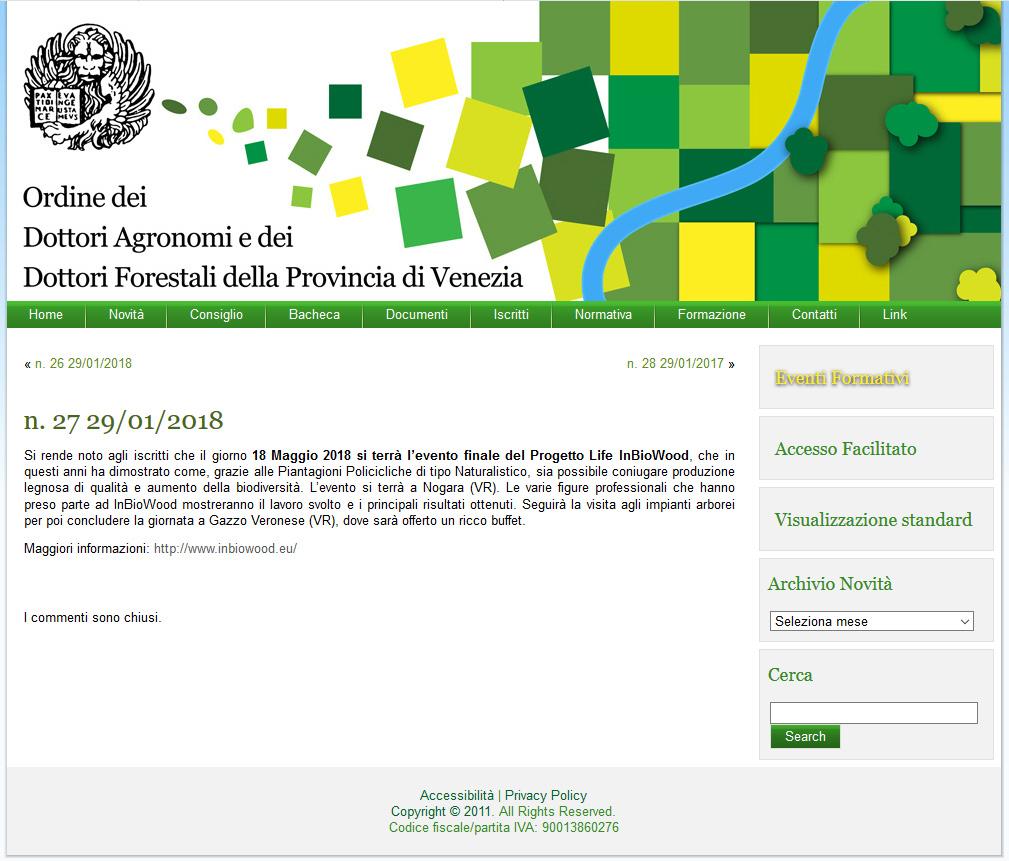 Agronomi e Forestali  Venezia - Annunciato evento finale InBioWood