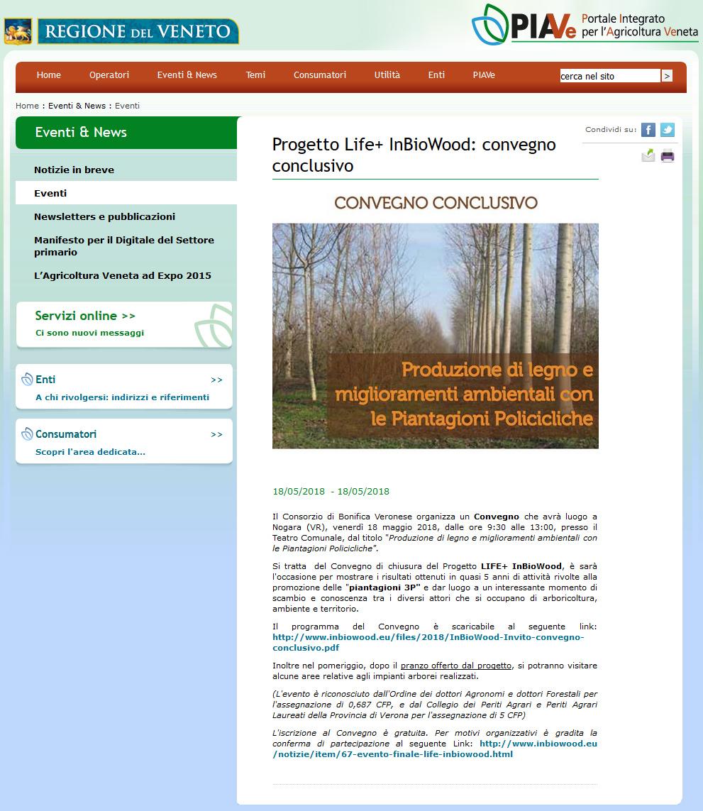 Progetto Life+ InBioWood: convegno conclusivo