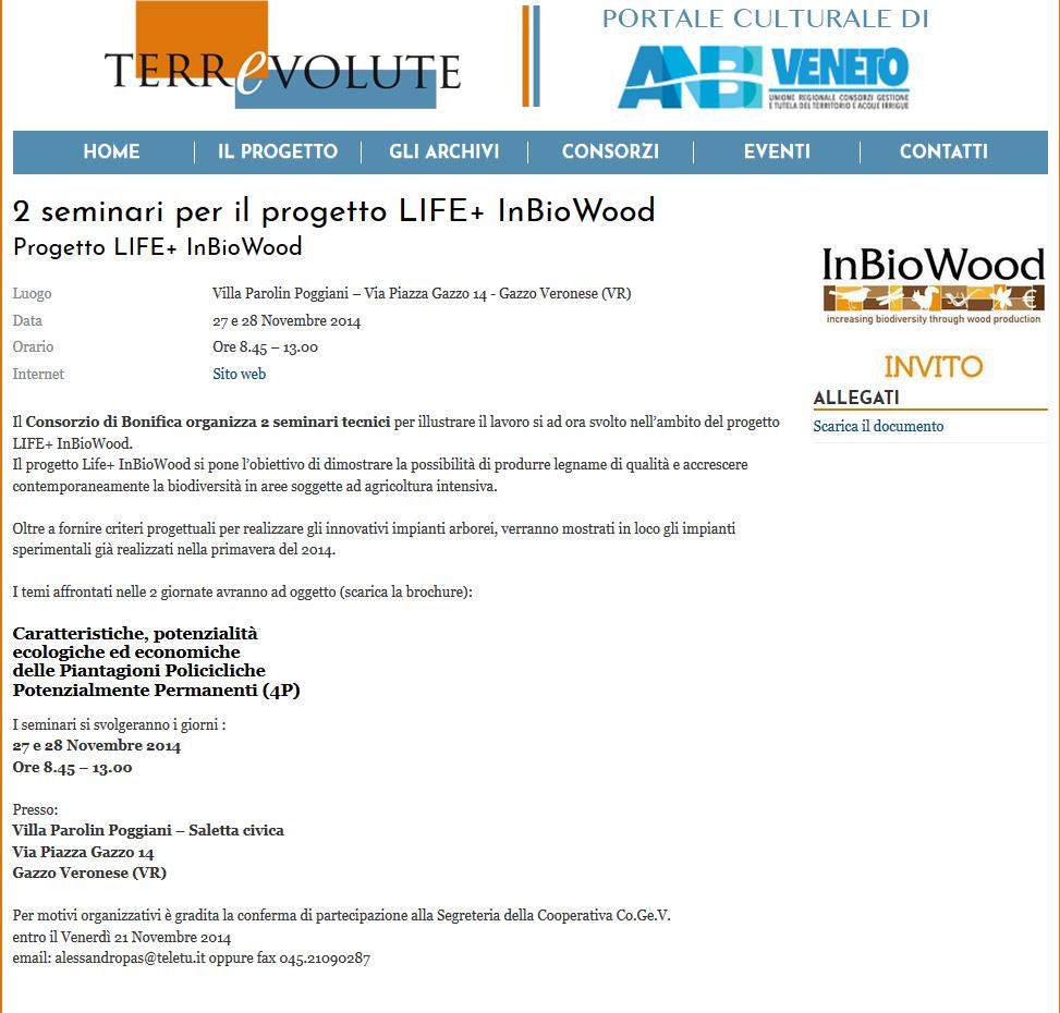 2 seminari per il progetto LIFE+ InBioWood